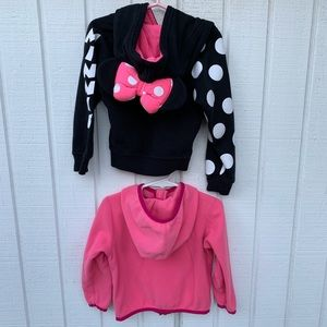 Disney Mini Mouse Bow Hoodie/ Northern Face fleece